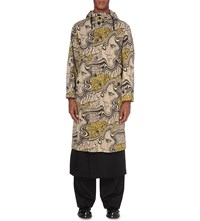 Dries Van Noten Psychedelic Print Cotton Parka Coat Sand