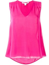 Diane Von Furstenberg V Neck Tank Top Pink And Purple