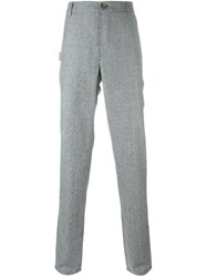 Brunello Cucinelli Houndstooth Straight Leg Trousers Grey