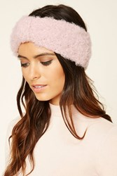 Forever 21 Fuzzy Knit Bow Front Headwrap Pink