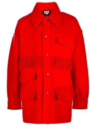 Jc De Castelbajac Vintage Fringed Coat Red