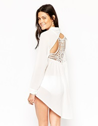 Max C London Max C Beach Shirt With Long Back And Cutwork Detail White