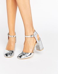 Glamorous Silver Metallic Ankle Strap Heeled Shoes Silver Metallic