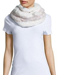 Collection 18 Faux Fur Trimmed Knit Infinity Scarf Ivory
