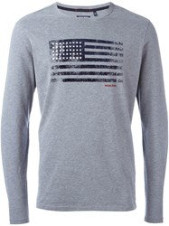 Woolrich American Flag Printed T Shirt Grey