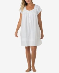 Eileen West Plus Size Venise Lace Trimmed Nightgown White