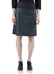 Agnona A Line Leather Miniskirt Black