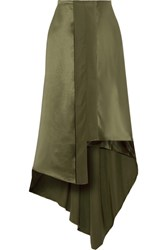 Elizabeth And James Sydney Asymmetric Silk Satin Midi Skirt Army Green