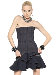 Givenchy Stitched Cotton Drill Bustier Top Midnight Blue