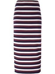 Victoria Beckham Striped Knitted Skirt Red
