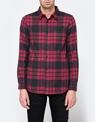 John Elliott Shaggy Flannel Button Down Red Black