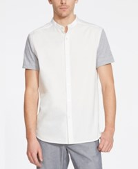 Kenneth Cole Reaction Men's Band Collar Colorblocked Short Sleeve Shirt White