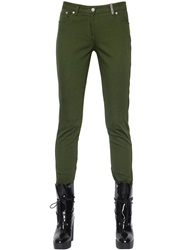 Kenzo Skinny Fit Cotton Twill Pants Green