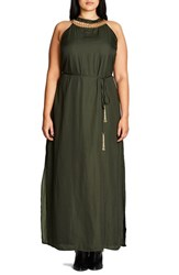 City Chic Plus Size Women's Ring Detail Maxi Dress Olive