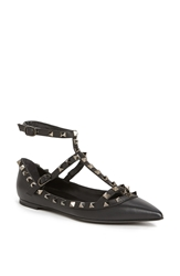 Valentino 'Rockstud' Double Ankle Strap Pointy Toe Flat Black