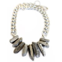 Shh By Sadie Rocked Up Crystal Quartz Necklace Silver