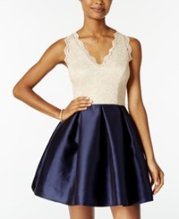 Teeze Me Juniors' Lace Fit And Flare Dress Ivory Navy
