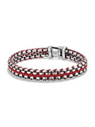 David Yurman Chain Collection Sterling Silver Bracelet Red