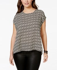 Ing Plus Size Printed Short Sleeve Blouse Black Ivory