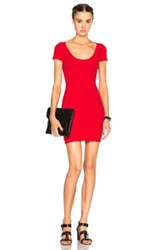 T By Alexander Wang Rib Scoopneck Dress In Red