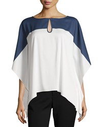 Catherine Catherine Malandrino Everly Colorblock Keyhole Blouse Nightfall White