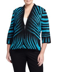 Ming Wang Plus Zebra Print 3 4 Sleeve Jacket Peacock Black