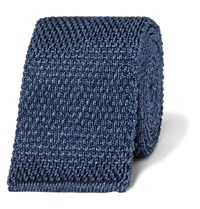 Tom Ford 7Cm Melange Knitted Silk Tie Blue