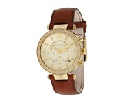 Michael Kors Mk2249 Parker Chronograph Chocolate Gold Watches Brown