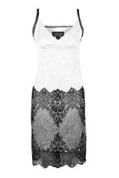 Topshop Crushed Satin Lace Slip White