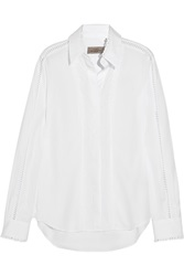 Preen Crane Broderie Anglaise Trimmed Cotton Shirt White