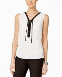 Inc International Concepts Sleeveless Contrast Lace Up Blouse Only At Macy's Washed White