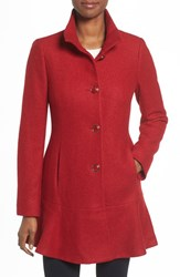 Kensie Women's Single Breasted Ruffle Hem Coat Red