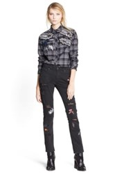 Msgm Embroidered Flannel Shirt Gray