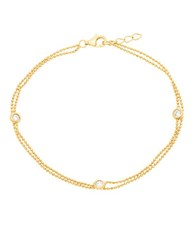Lord And Taylor Double Strand Cubic Zirconia Bezel Bracelet Gold