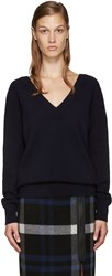 Victoria Beckham Navy Double V Neck Sweater
