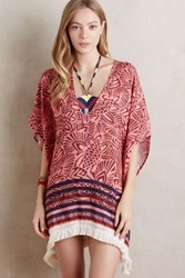 Anthropologie Fringed Palm Cover Up Red Motif