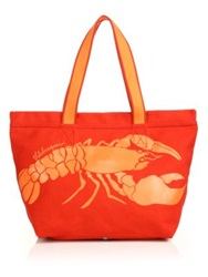 Vilebrequin Oversized Canvas Lobster Tote Red Orange