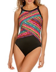 Miraclesuit Night Lights Colorblock Highneck One Piece Swimsuit Multi
