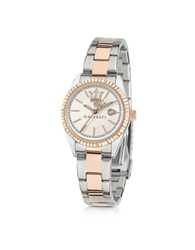 Maserati Competizione Silver And Rose Golden Stainless Steel Women's Watch