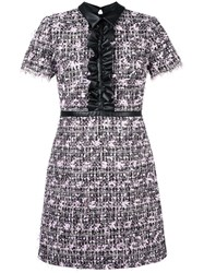 Giamba Ruffled Detailing Tweed Dress Black