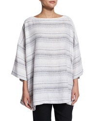 Eskandar 3 4 Sleeve Striped Linen Tunic Gray Stripe Greystripe