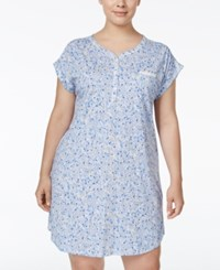 Miss Elaine Plus Size Floral Print Nightgown Peri Navy Leaf Floral