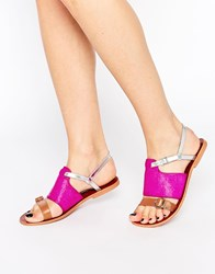 Ravel Strappy Leather Flat Sandals Fuschia Tan Pink