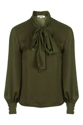 Oh My Love Bow Tie Neck Blouse By Khaki