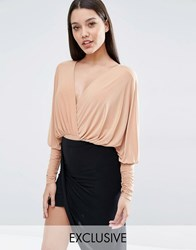 Club L Longsleeved Bodysuit With Plunge Front Macaroon