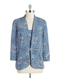 Alex Evenings Plus Sequin And Floral Cardigan Set Blue Grey