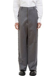 Thom Browne Distressed Wide Leg Calvary Twill Pants Grey