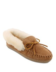 Minnetonka Alpine Sheepskin And Suede Moccasins Tan