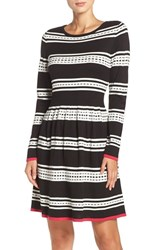 Eliza J Women's Stripe Knit Fit And Flare Dress