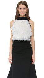 Sally Lapointe Ostrich Feather Crop Tank Black White